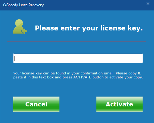 How to Enter License Key - OSpeedy Data Recovery help