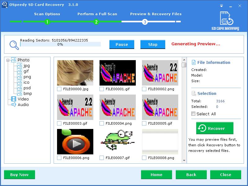Windows 7 OSpeedy SD Card Recovery 3.1.0 full